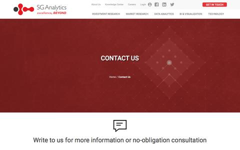 Screenshot of Contact Page sganalytics.com - SG Analytics | Contact Us for Global Research and Analytics Solutions - captured July 25, 2018