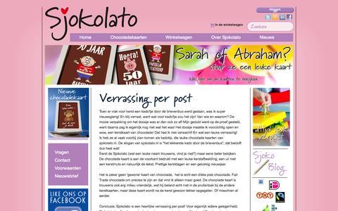 Screenshot of Blog sjokolato.nl - Sjokolato Blog Online chocolade cadeau bestellen / verrassing geschenk kaart - captured Oct. 4, 2014