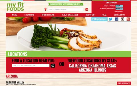 Screenshot of Locations Page myfitfoods.com - My Fit Foods | Gluten Free, Bold Flavors, All Natural & On the Go - captured Oct. 26, 2014