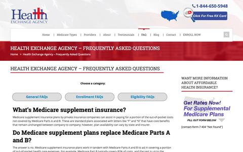 Screenshot of FAQ Page thehealthexchangeagency.com - Medicare Supplement Plans FAQ - Health Exchange Agency - captured June 18, 2019
