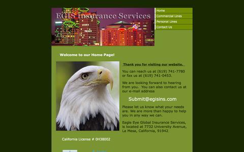Screenshot of Home Page egisins.com - Home - captured Sept. 25, 2018