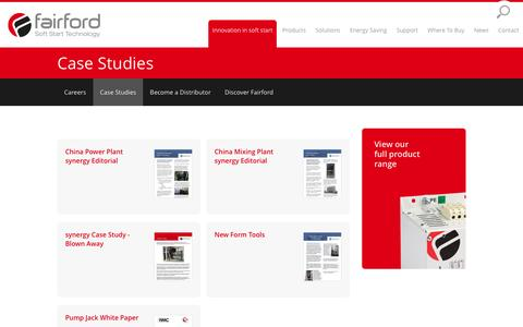 Screenshot of Case Studies Page fairford.com - Case Studies | Fairford Soft Starters - captured March 13, 2016