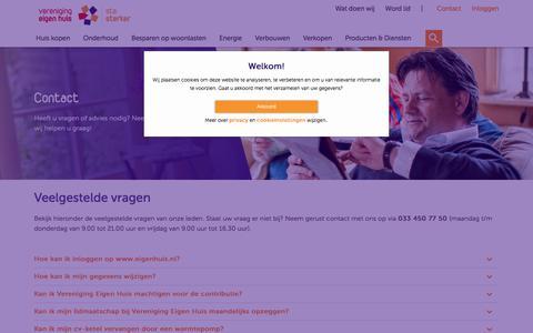 Screenshot of Contact Page eigenhuis.nl - Contact - Vereniging Eigen Huis - captured Sept. 23, 2018