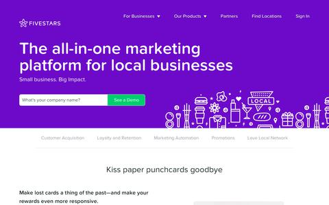 Screenshot of Products Page fivestars.com - All-in-one marketing platform for local businesses - Fivestars - captured April 5, 2018