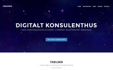 Screenshot of Home Page Team Page creators.dk - Creators | Digital forretningsudvikling, e-commerce og webudvikling - captured April 18, 2016