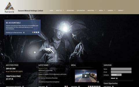 Screenshot of Home Page saracen.com.au - Saracen Mineral Holdings :: Home - captured Oct. 4, 2014