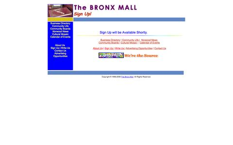 Screenshot of Signup Page bronxmall.com - The BRONX MALL - Sign Up! - captured Oct. 5, 2014