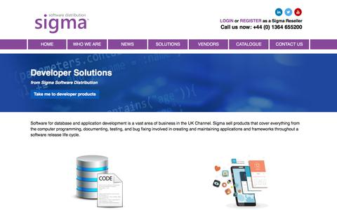 Screenshot of Developers Page sigmasd.com - Sigma Software Distribution - captured Sept. 19, 2018