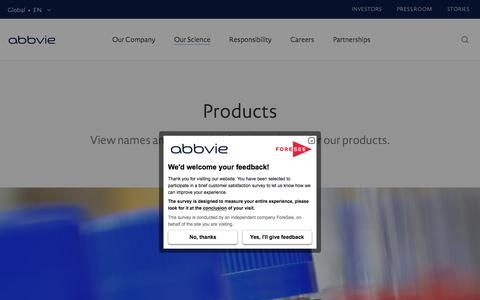 Screenshot of Products Page abbvie.com - Products - Our Science | AbbVie - captured April 1, 2018