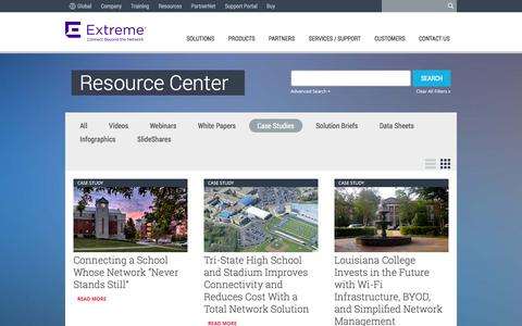 Screenshot of Case Studies Page extremenetworks.com - Case Study | Extreme Networks - captured Jan. 14, 2016