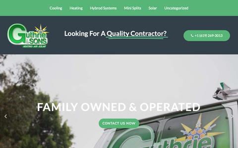 Screenshot of Home Page guthrieandsons.com - Guthrie & Sons | San Diego Air Conditioning Heating HVAC Service Repair - captured Sept. 30, 2018