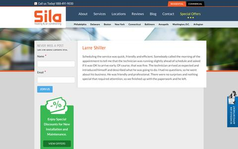 Screenshot of Developers Page sila.com - Larre Shiller - Sila Heating and Cooling Repair Testimonials - captured Nov. 9, 2016