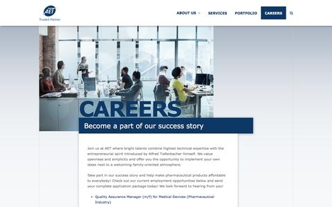 Screenshot of Jobs Page aet.eu - Start your Career at AET - captured July 28, 2018