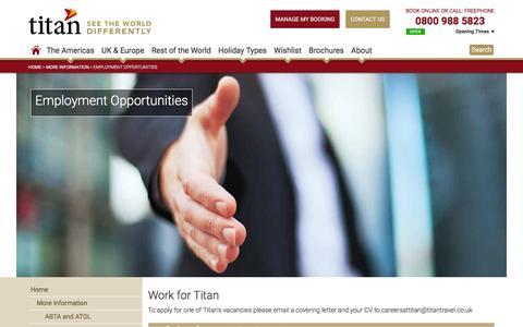 Screenshot of Jobs Page titantravel.co.uk - Employment opportunities - captured Jan. 15, 2016