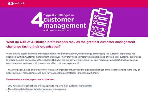 Screenshot of Landing Page salmat.com.au - Customer Management Challenges Whitepaper - captured Dec. 12, 2016