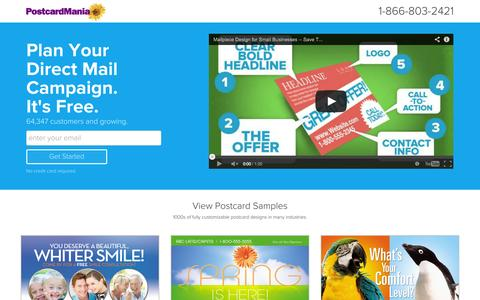 Screenshot of Landing Page postcardmania.com - Direct Mail Advertising For Small Businesses - captured Oct. 27, 2014