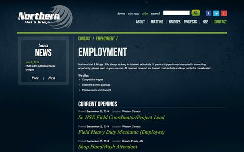 Screenshot of Jobs Page northernmat.ca - Contact - captured Oct. 7, 2014