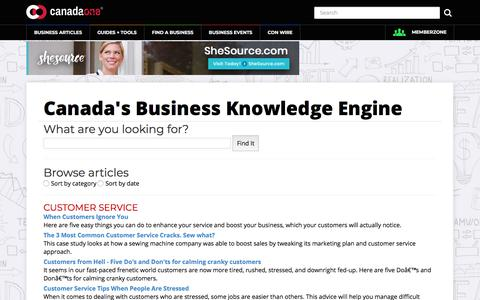 Screenshot of Support Page canadaone.com - Canada's Business Knowledge Engine - captured Sept. 24, 2018