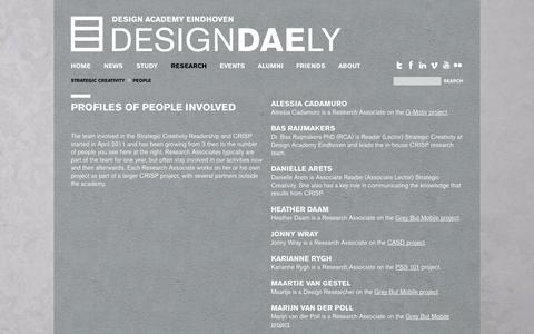 Screenshot of Team Page designacademy.nl - Design Academy Eindhoven > Research > Strategic Creativity > People - captured Oct. 5, 2014