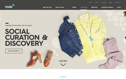 Screenshot of Home Page fluid.com - Ecommerce Web Design - On-demand Visual Merchandising Solutions - captured Sept. 16, 2014