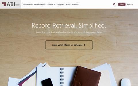 Screenshot of Home Page abidss.com - Record Retrieval Services - captured Oct. 4, 2014