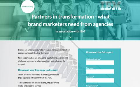 Screenshot of Landing Page econsultancy.com - Partners in transformation - what brand marketers need from agencies - captured Sept. 22, 2018
