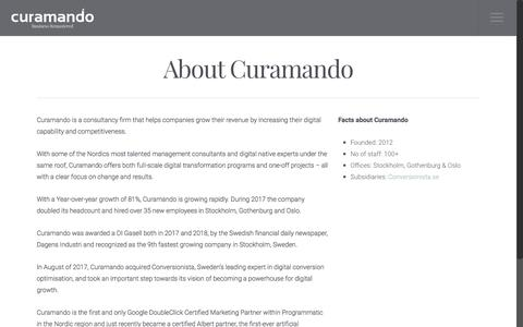 Screenshot of About Page curamando.com - About Curamando - Curamando - Business Remastered - captured Oct. 9, 2019