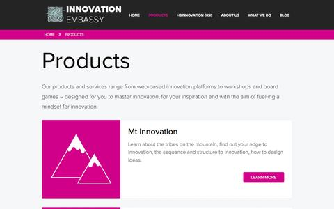 Screenshot of Products Page innovationembassy.com - Products - Innovation Embassy - captured Sept. 30, 2014