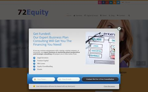 Screenshot of Home Page 72equity.com - Expert Small Business Plans Writer & Consultant - captured Feb. 27, 2016