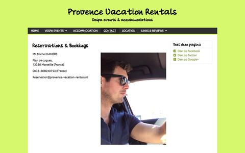 Screenshot of Contact Page provence-vacation-rentals.nl - CONTACT - www.provence-vacation-rentals.nl - captured Sept. 30, 2014