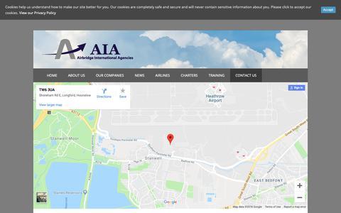 Screenshot of Contact Page aiacargo.com - Contact Us - Airbridge International Agencies - captured Nov. 12, 2018