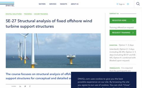 Screenshot of Support Page dnvgl.com - Structural analysis of fixed offshore wind turbine support structures training - DNV GL - captured Dec. 7, 2019