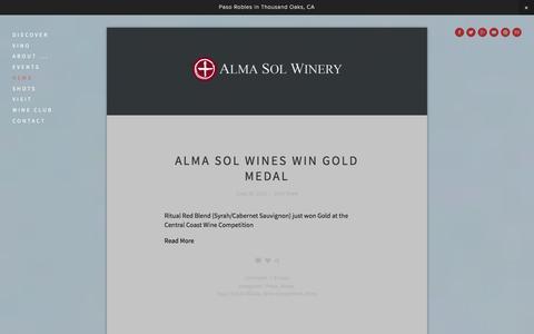 Screenshot of Press Page almasolwinery.com - News — ALMA SOL WINERY - captured Dec. 24, 2015