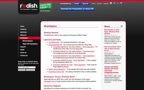 Screenshot of Developers Page radishsystems.com - Radish Systems, LLC Developers | Radish Systems - captured Sept. 17, 2014