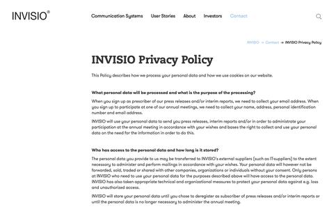 Screenshot of Privacy Page invisio.com captured Oct. 2, 2018