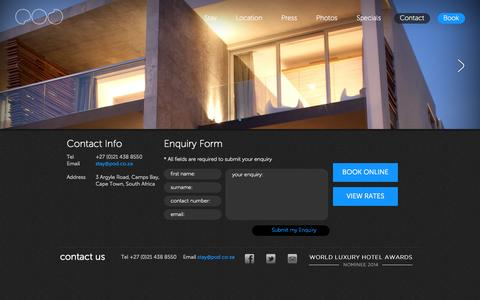 Screenshot of Contact Page pod.co.za - Contact - POD • Camps Bay | POD • Camps Bay - A luxury boutique hotel based in Cape Town - captured Oct. 1, 2014