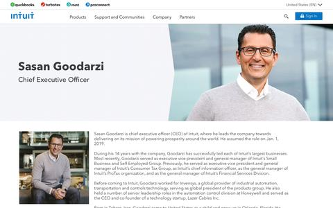 Screenshot of Team Page intuit.com - Intuit®: Company   Intuit CEO • Sasan Goodarzi - captured Nov. 21, 2019