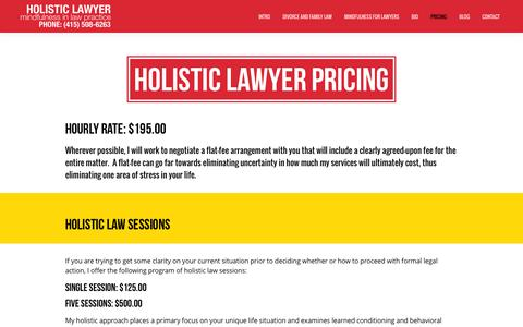 Screenshot of Pricing Page lubofsky.com - Holistic Law Services | Incorporating Mindfulness in Law - captured Oct. 8, 2014