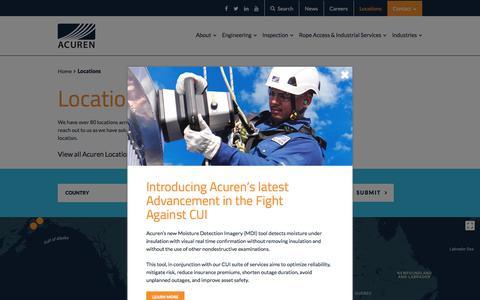 Screenshot of Locations Page acuren.com - Locations - Acuren - captured July 29, 2018
