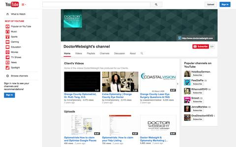 Screenshot of YouTube Page youtube.com - DoctorWebsight's channel  - YouTube - captured Oct. 23, 2014