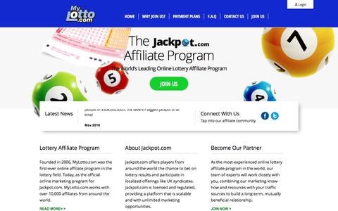 Screenshot of Home Page mylotto.com - Mylotto.com - The World's Leading Online Lottery Affiliate Program - captured Sept. 6, 2016