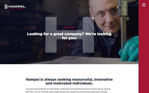 Screenshot of Jobs Page hampelcorp.com - Manufacturing & Sales Careers   Hampel - captured July 15, 2018