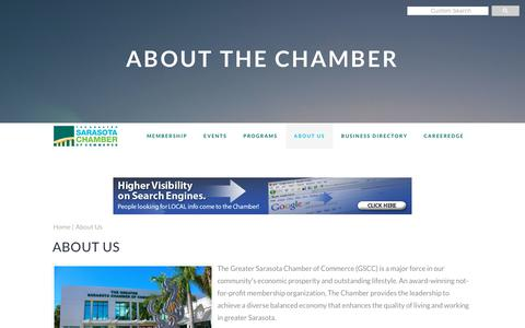Screenshot of About Page sarasotachamber.com - About Us | Greater Sarasota Chamber of Commerce - captured Sept. 30, 2018