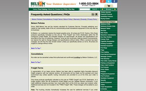 Screenshot of FAQ Page belson.com - Belson Outdoors® | Frequently Asked Questions - captured Sept. 23, 2018