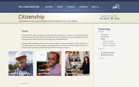 Screenshot of Team Page pplweb.com - PPL Citizenship - People - captured Sept. 26, 2014