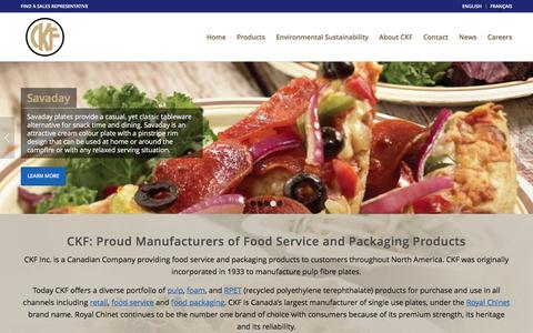 Screenshot of Home Page ckfinc.com - Pulp, Foam & Plastic Food Service Products & Packaging in Canada & US - captured March 1, 2016