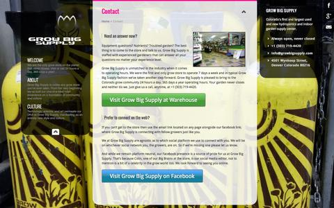 Screenshot of Contact Page growbigsupply.com - Contact | Grow Big Supply - captured Sept. 30, 2014
