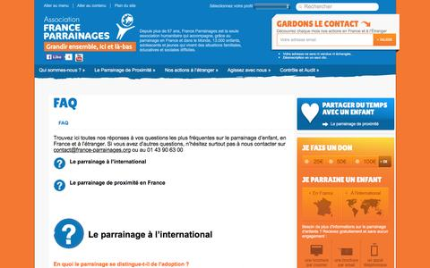 Screenshot of FAQ Page france-parrainages.org - France Parrainages - FAQFrance Parrainages (ex CFPE) - captured Jan. 26, 2016