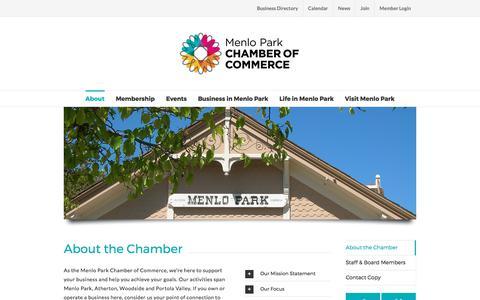 Screenshot of About Page menloparkchamber.com - About the Chamber of Commerce • Menlo Park Chamber - captured Oct. 18, 2017