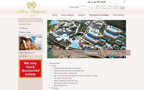 Screenshot of Site Map Page minosimperial.com - Awarded All inclusive Resort in Crete, Greece. A La Carte All Inclusive. - captured Oct. 7, 2014
